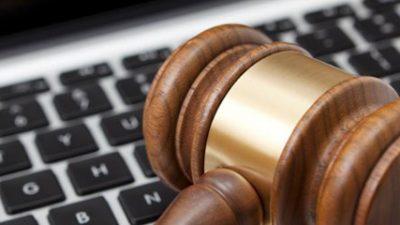 keyboard and law gavel