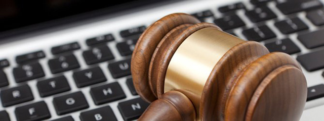 keyboard and law gavel